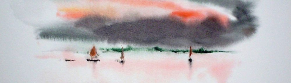 """Red Sky Sailboats"" by Klaus Meyer Gasters - vintage 1970's/1980's offset lithograph reproduction watercolour collectible fine art print (size approx. 15 x 18.5 inches/ ca 38 x 47 cm) - KerrisdaleGallery.com"