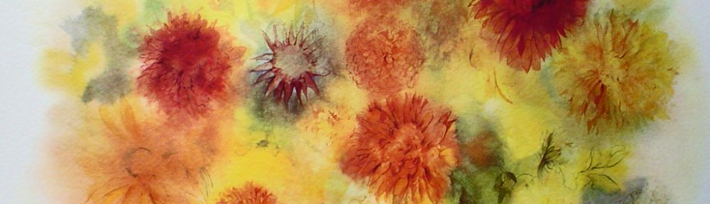 """Golden Chrysanthemums"" by Klaus Meyer Gasters - vintage 1970's/1980's offset lithograph reproduction watercolour collectible fine art print (size approx. 15 x 18.5 inches/ ca 38 x 47 cm) - KerrisdaleGallery.com"