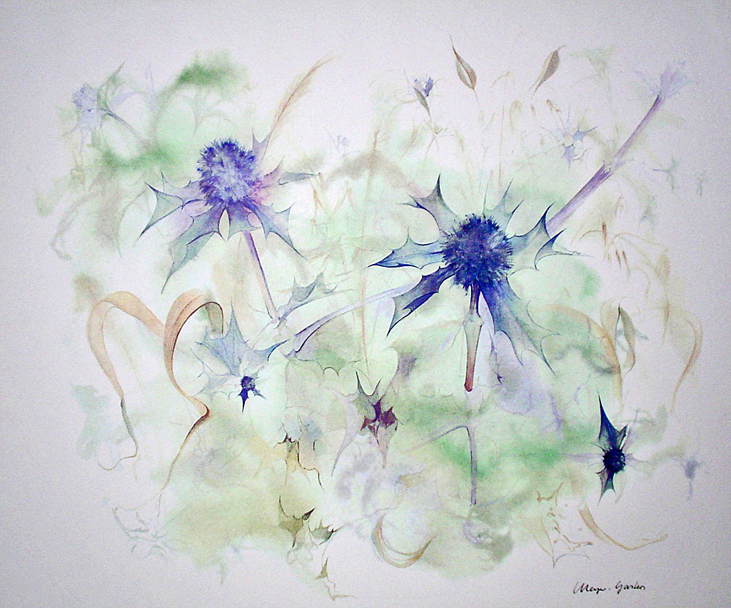 """Blue Star Thistles"" by Klaus Meyer Gasters - vintage 1970's/1980's offset lithograph reproduction watercolour collectible fine art print (size approx. 15 x 18.5 inches/ ca 38 x 47 cm) - KerrisdaleGallery.com"