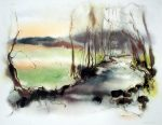 """""""Green Spring Pond"""", in German: """"Bach Im Fruehling"""" by Klaus Meyer Gasters - vintage 1970's/1980's offset lithograph reproduction watercolour collectible fine art print (size approx. 15 x 18.5 inches/ ca 38 x 47 cm) - KerrisdaleGallery.com"""