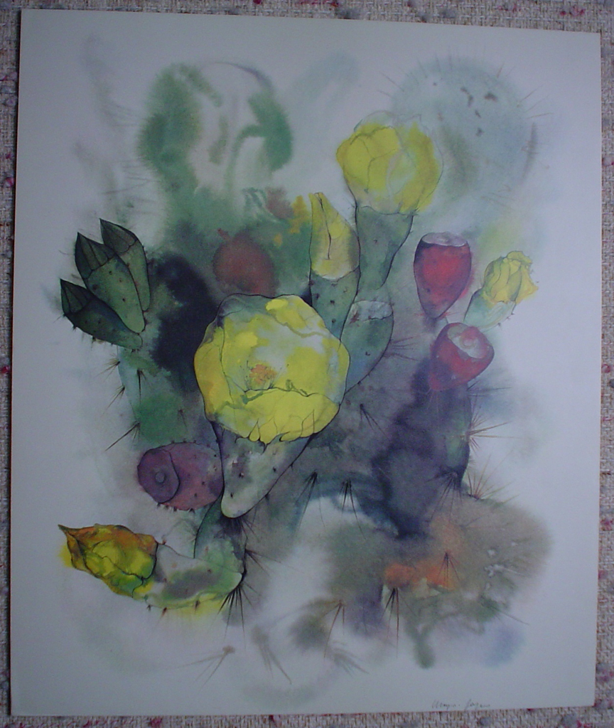 """Yellow Cactus Flower"" by Klaus Meyer Gasters, shown with full margins - vintage 1970's/1980's offset lithograph reproduction watercolour collectible fine art print (size approx. 15 x 18.5 inches/ ca 38 x 47 cm) - KerrisdaleGallery.com"
