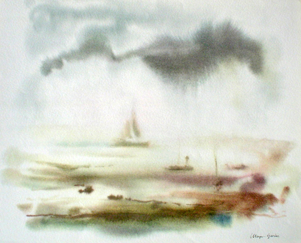 """Big Sailboat Misty Scene"" by Klaus Meyer Gasters - vintage 1970's/1980's offset lithograph reproduction watercolour collectible fine art print (size approx. 15 x 18.5 inches/ ca 38 x 47 cm) - KerrisdaleGallery.com"