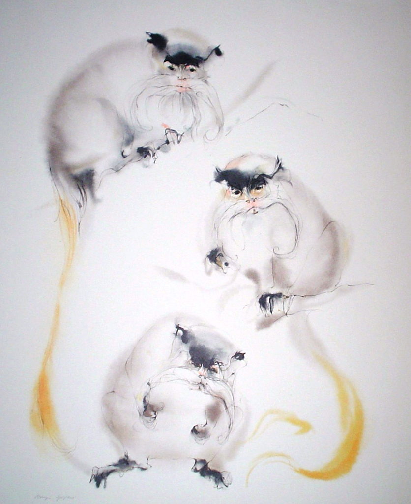 """""""Three Mandarin Monkeys"""" by Klaus Meyer Gasters - vintage 1970's/1980's offset lithograph reproduction watercolour collectible fine art print (size approx. 15 x 18.5 inches/ ca 38 x 47 cm) - KerrisdaleGallery.com"""