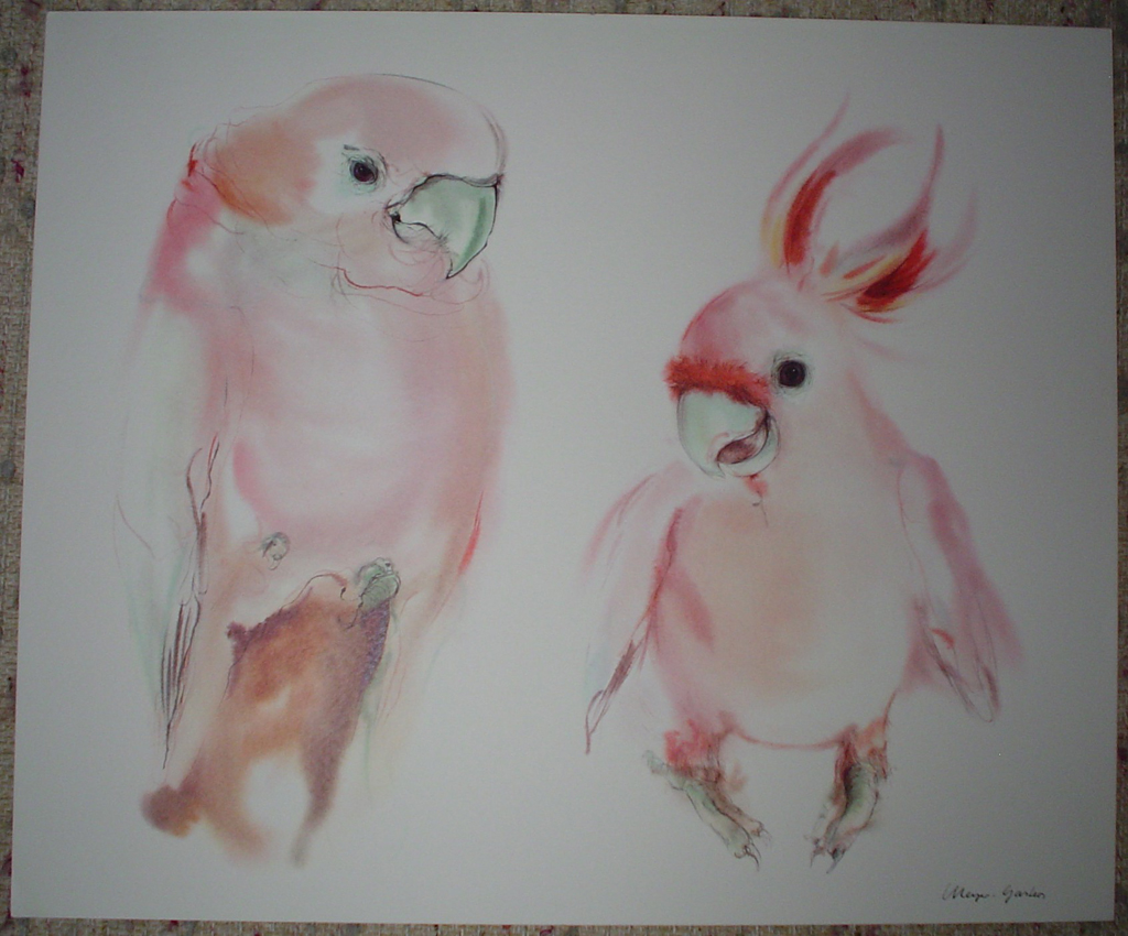 """Two Pink Cockatoos"" by Klaus Meyer Gasters, shown with full margins - vintage 1970's/1980's offset lithograph reproduction watercolour collectible fine art print (size approx. 15 x 18.5 inches/ ca 38 x 47 cm) - KerrisdaleGallery.com"