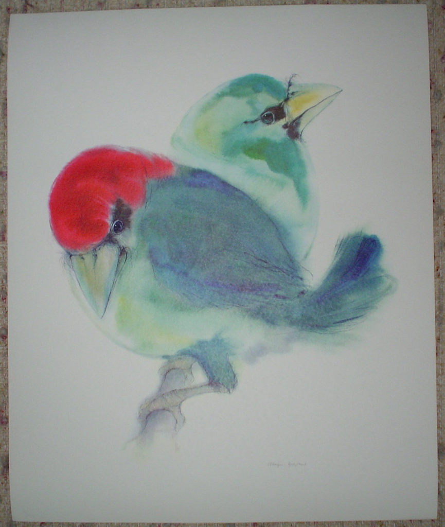 """""""Two Blue Barbet Birds"""" by Klaus Meyer Gasters, shown with full margins - vintage 1970's/1980's offset lithograph reproduction watercolour collectible fine art print (size approx. 15 x 18.5 inches/ ca 38 x 47 cm) - KerrisdaleGallery.com"""