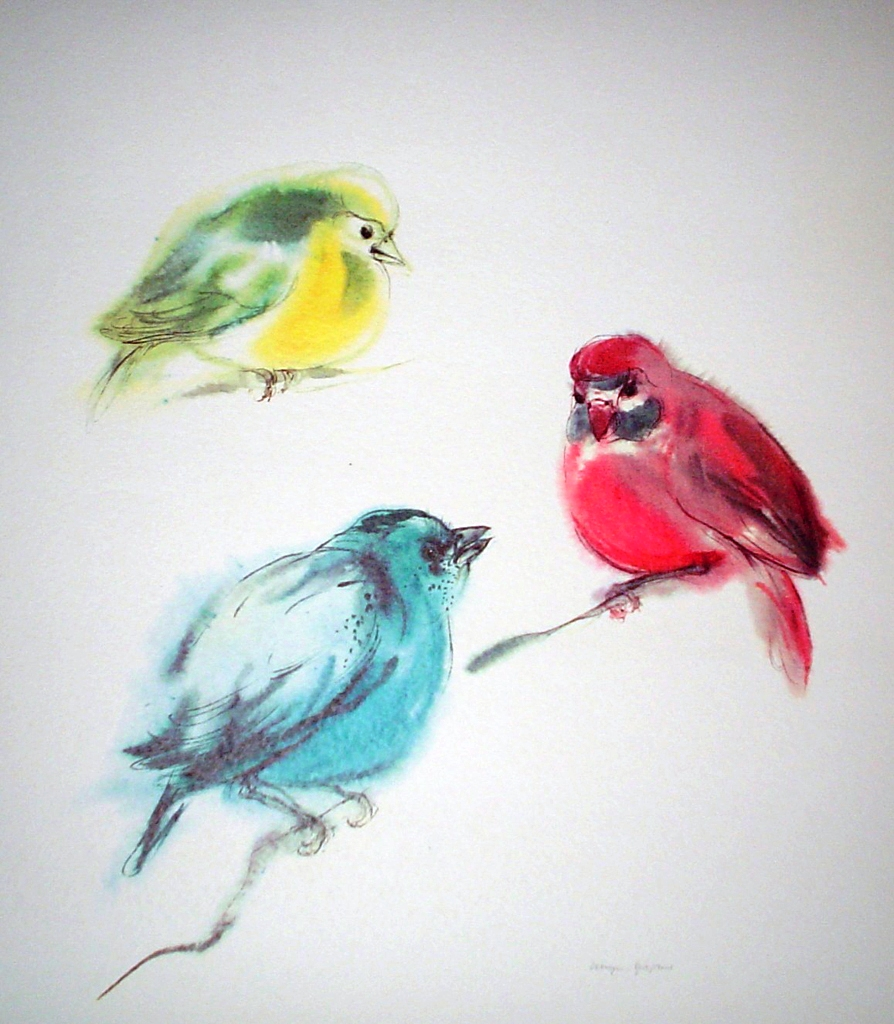 """Three Tanagers: Birds Red Yellow Blue"", in German: ""Tangeren"" by Klaus Meyer Gasters - vintage 1970's/1980's offset lithograph reproduction watercolour collectible fine art print (size approx. 15 x 18.5 inches/ ca 38 x 47 cm) - KerrisdaleGallery.com"