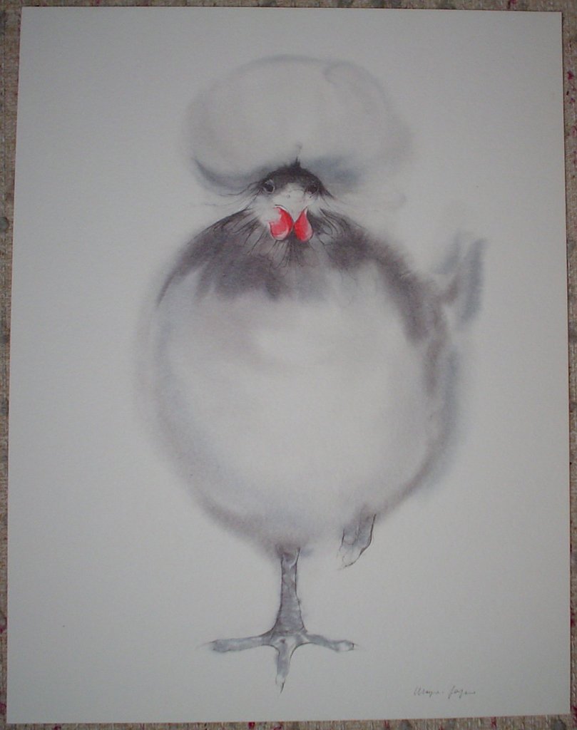 """White Crowned Chicken"" by Klaus Meyer Gasters, shown with full margins - vintage 1970's/1980's offset lithograph reproduction watercolour collectible fine art print (size approx. 15 x 18.5 inches/ ca 38 x 47 cm) - KerrisdaleGallery.com"