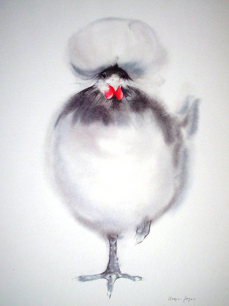 """White Crowned Chicken"" by Klaus Meyer Gasters - vintage 1970's/1980's offset lithograph reproduction watercolour collectible fine art print (size approx. 15 x 18.5 inches/ ca 38 x 47 cm) - KerrisdaleGallery.com"