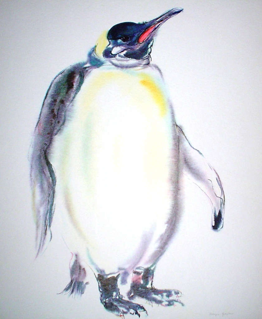 """Emperor Penguin"", in German: ""Koenigspenguin"" by Klaus Meyer Gasters - vintage 1970's/1980's offset lithograph reproduction watercolour collectible fine art print (size approx. 15 x 18.5 inches/ ca 38 x 47 cm) - KerrisdaleGallery.com"