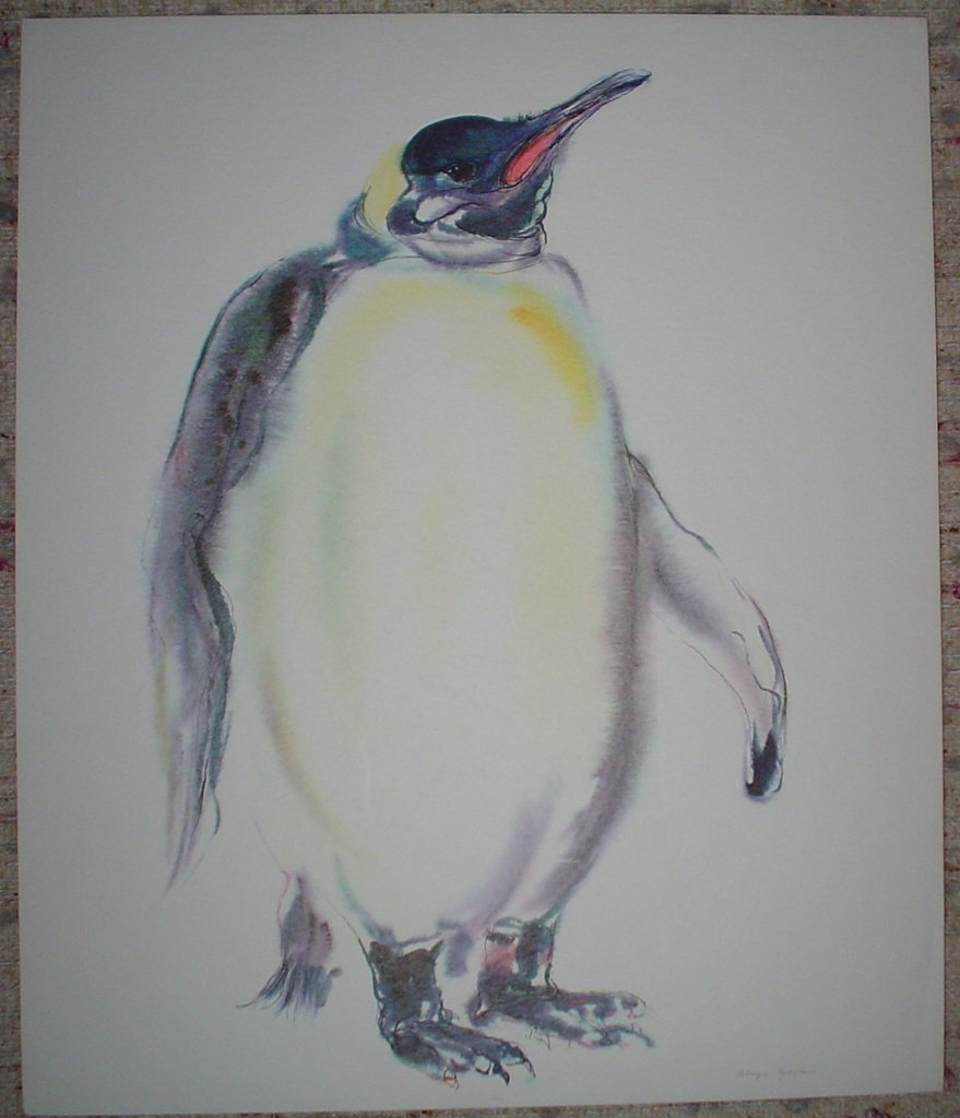 """Emperor Penguin"", in German: ""Koenigspenguin"" by Klaus Meyer Gasters, shown with full margins - vintage 1970's/1980's offset lithograph reproduction watercolour collectible fine art print (size approx. 15 x 18.5 inches/ ca 38 x 47 cm) - KerrisdaleGallery.com"