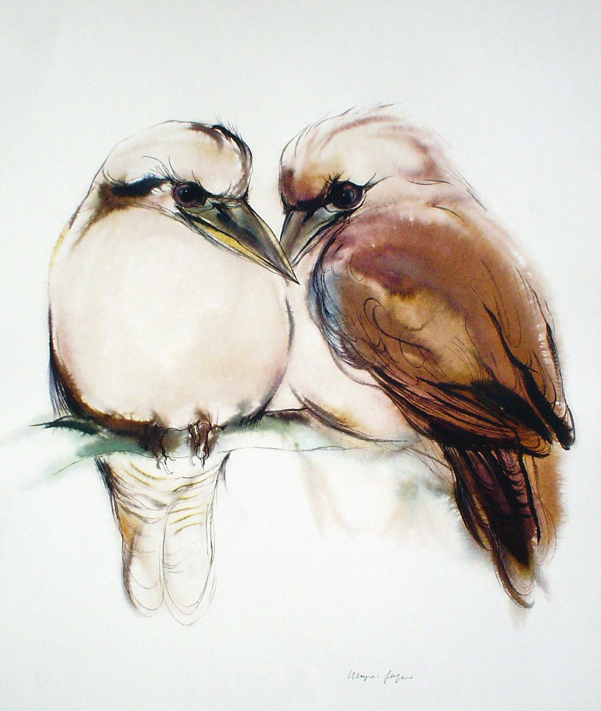 """Two Loving Brown Birds"" by Klaus Meyer Gasters - vintage 1970's/1980's offset lithograph reproduction watercolour collectible fine art print (size approx. 15 x 18.5 inches/ ca 38 x 47 cm) - KerrisdaleGallery.com"