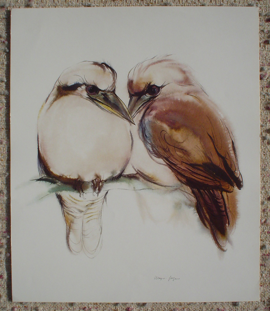 """Two Loving Brown Birds"" by Klaus Meyer Gasters, shown with full margins - vintage 1970's/1980's offset lithograph reproduction watercolour collectible fine art print (size approx. 15 x 18.5 inches/ ca 38 x 47 cm) - KerrisdaleGallery.com"