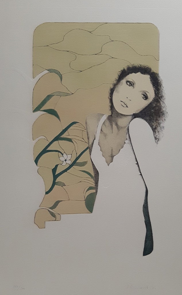 """KerrisdaleGallery.com - Stock ID# CR850lv-sntd-c - """"Tristesse"""" by Christine Rosamond, embossed original lithograph, limited edition, numbered 189/350, titled, dated and signed by artist"""