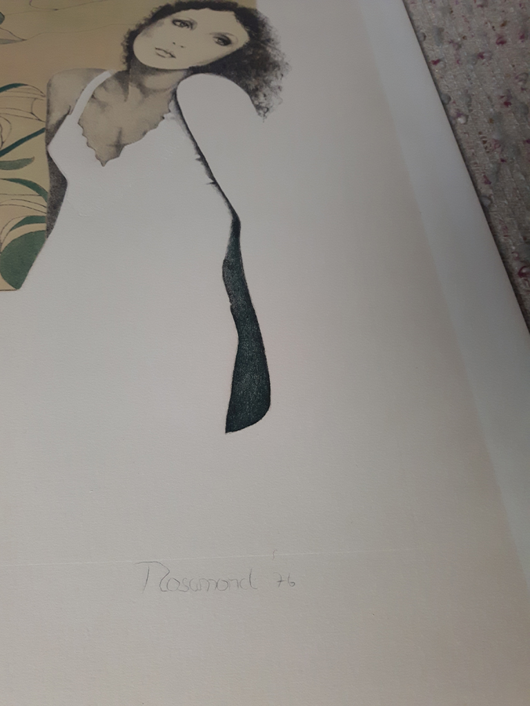 """KerrisdaleGallery.com - """"Tristesse"""" by Christine Rosamond, embossed original lithograph, limited edition, numbered 189/350, titled, dated and signed by artist, detail to show embossing in image and artist signature - Stock ID#CR850lv-sntd-c"""