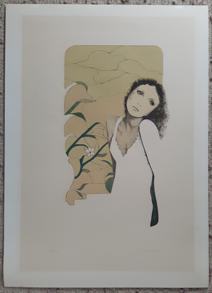 """KerrisdaleGallery.com - Stock ID# CR850lv-sntd-c - """"Tristesse"""" by Christine Rosamond, embossed original lithograph, limited edition, numbered 189/350, titled, dated and signed by artist, shown with full margins"""