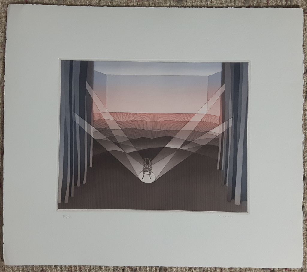 """KerrisdaleGallery.com - Stock ID#FJ187eh-sn - """"La Scene"""" (""""Centre Stage"""", """"The Chair"""") by Jean Michel Folon, shown with full margins - original etching, limited edition of 100, numbered in pencil 87/100 and signed by artist - vintage 1970s fine art graphic"""