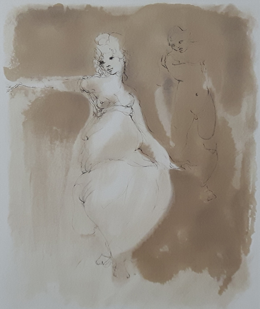 """KerrisdaleGallery.com - Stock ID#FL021ev-sn - """"Woman Approached (untitled)"""" by Leonor Fini - original etching, limited edition of 245 - in pencil: numbered 21/245 and signed by artist - vintage ca. 1980 fine art print"""