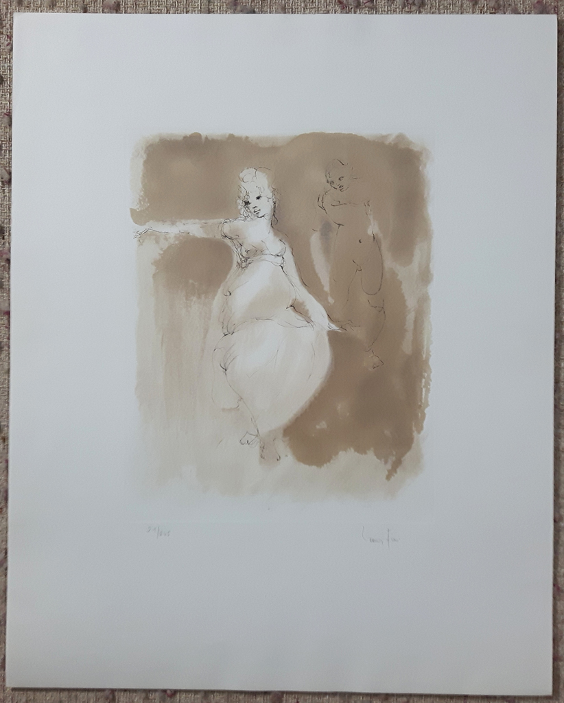 """KerrisdaleGallery.com - Stock ID#FL021ev-sn - """"Woman Approached (untitled)"""" by Leonor Fini, shown with full margins - original etching, limited edition of 245 - in pencil: numbered 21/245 and signed by artist - vintage ca. 1980 fine art print"""
