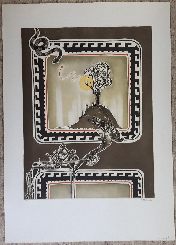 "KerrisdaleGallery.com - Stock ID#HF152ev-snt - ""Metamorphoses"" by Francis Hebbelinck, shown with full margins - original etching, limited edition of 150 - numbered 2/150, titled and signed in pencil by artist"