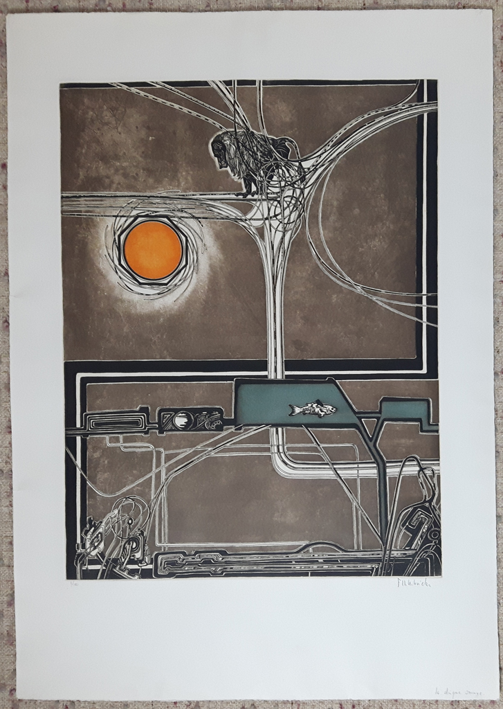 """KerrisdaleGallery.com - Stock ID#HF153ev-snt - """"Le Disque Orange"""" by Francis Hebbelinck, shown with full margins - original etching, limited edition of 150 - numbered 3/150, titled and signed in pencil by artist"""