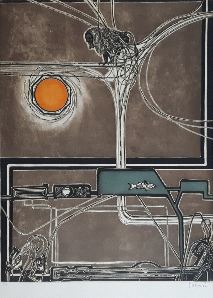 """KerrisdaleGallery.com - Stock ID#HF153ev-snt - """"Le Disque Orange"""" by Francis Hebbelinck - original etching, limited edition of 150 - numbered 3/150, titled and signed in pencil by artist"""