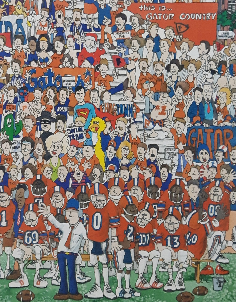 "KerrisdaleGallery.com - Stock ID#HJ980pv - ""University of Florida Gators Football"" by John Holladay, detail to show team players, referee, fans - offset lithograph poster - University of Florida, Gainesville FL, UF Gators, Florida Field, The Swamp - vintage 1980s collectible poster/ art print"