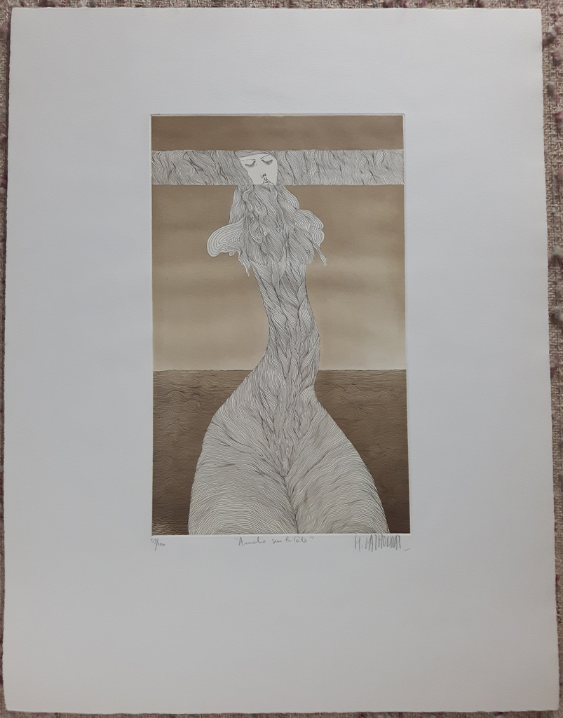 "KerrisdaleGallery.com - Stock ID#MM059ev-snt - ""Amelie Sur La Cote"" by Michel Mathonnat, shown with full margins - original etching, limited edition of 100 - numbered 59/100, titled and signed in pencil by artist - vintage fine art print"