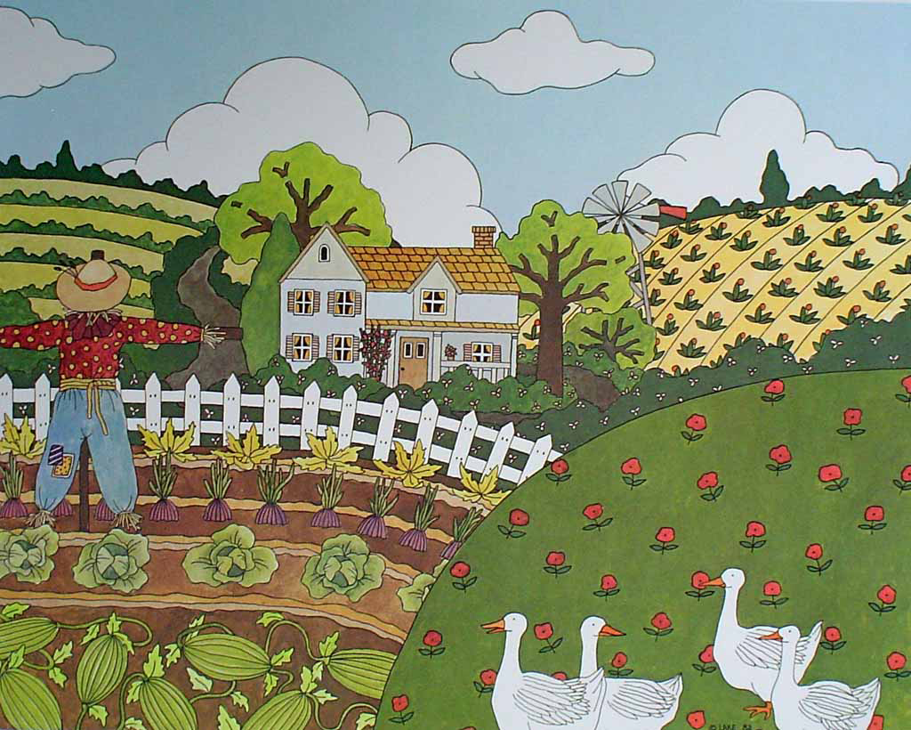 KerrisdaleGallery.com - stock ID#LM332ph-snt - Watermelons and Cabbages by Mary Lake-Thompson - Limited Edition 332/550, 1982 offset lithograph; numbered, signed and titled in pencil by the artist