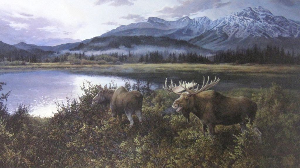KerrisdaleGallery.com - stock ID#WM647ph-snt - Autumn Evening (moose couple) by Marla Wilson - Limited Edition 647/695, 1990 offset lithograph; numbered, titled and signed in pencil by the artist