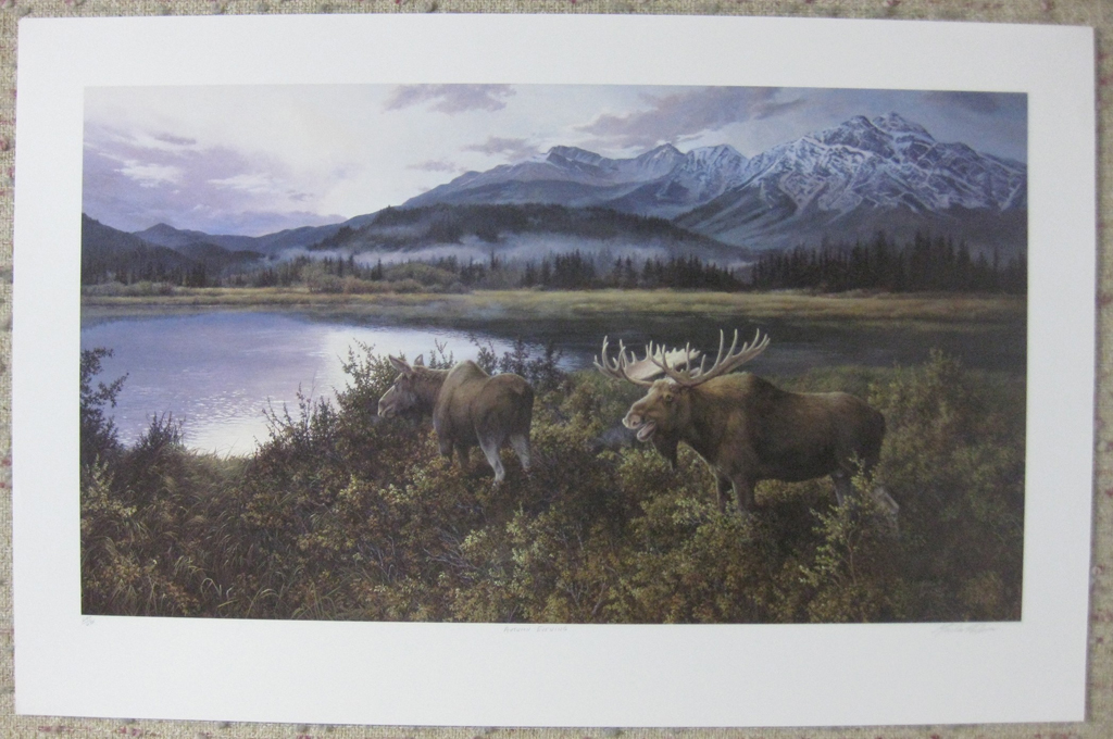 KerrisdaleGallery.com - stock ID#WM647ph-snt - Autumn Evening (moose couple) by Marla Wilson, shown with full margins - Limited Edition 647/695, 1990 offset lithograph; numbered, titled and signed in pencil by the artist