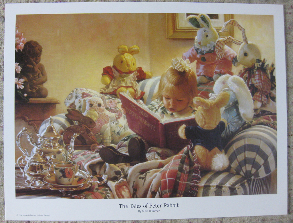 KerrisdaleGallery.com - stock ID#WM993ph-s - The Tales of Peter Rabbit by Mike Wimmer, shown with full margins - hand-signed by the artist - 1996 offset lithograph of a 1993 painting, printed in U.S.A.
