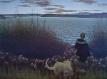 Boy, Dog And St John River by Alex Colville