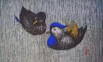Quiet Couple by Kaoru Kawano - original woodcut
