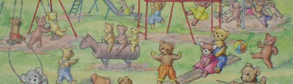 Teddy Bears' Playtime by Molly Brett - offset lithograph fine art print