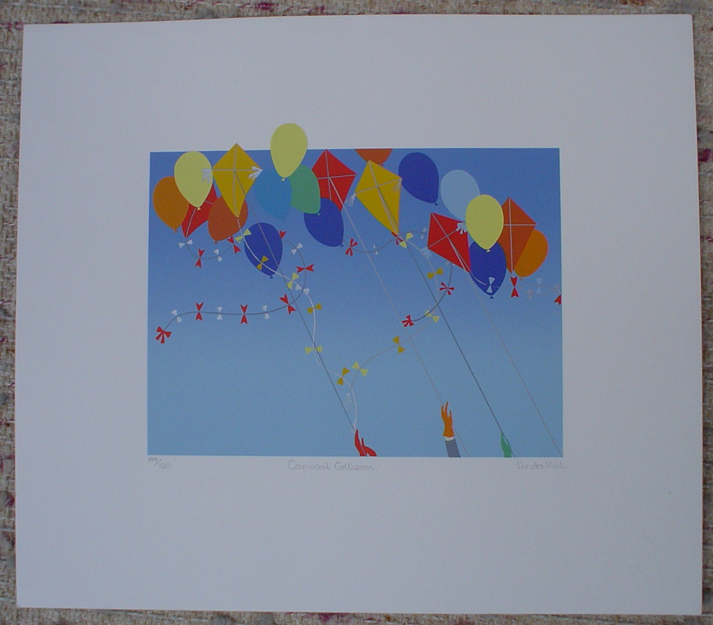 Carnival Collision by Linda Hill, shown with full margins - original silkscreen, signed and numbered 144/ 150