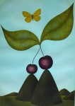 Double Cherry Butterfly by Volker Kuehn - original etching, signed and numbered 175/ 300