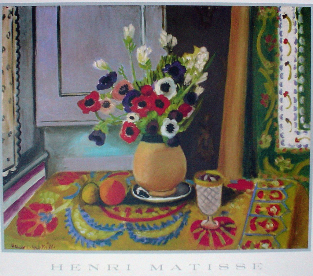 Bouquet Of Anenomies In A Vase by Henri Matisse - offset lithograph fine art poster