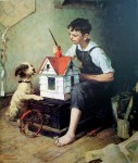 Painting The Little House by Norman Rockwell - offset lithograph fine art print