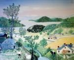 It's A Beautiful World by Grandma Moses (Anna Marie Robertson) - offset lithograph fine art print