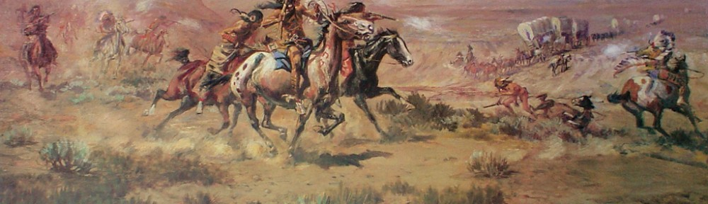 Attack On The Wagon Train 1904 by Charles Marion Russell - offset lithograph fine art print