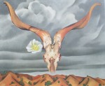 Ram's Head White Hollyhock And Little Hills by Georgia O'Keeffe - offset lithograph fine art print