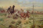When Horse Flesh Comes High by Charles Russell - offset lithograph fine art print