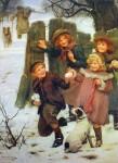 Children Snowballing by Arthur Elsley - offset lithograph fine art print