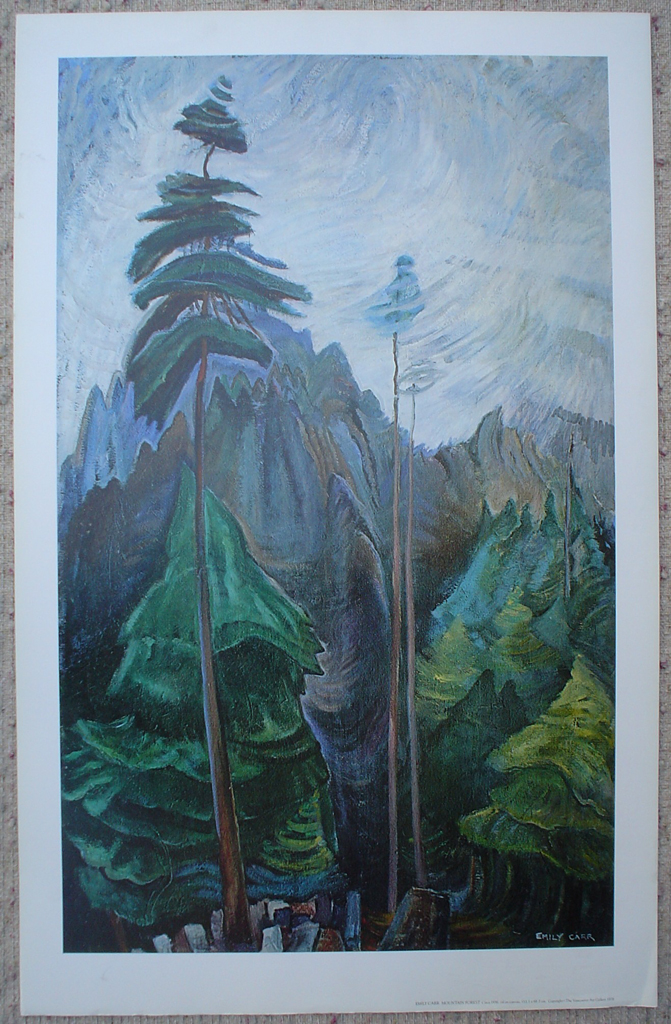 Mountain Forest by Emily Carr, shown with full margins - offset lithograph fine art print