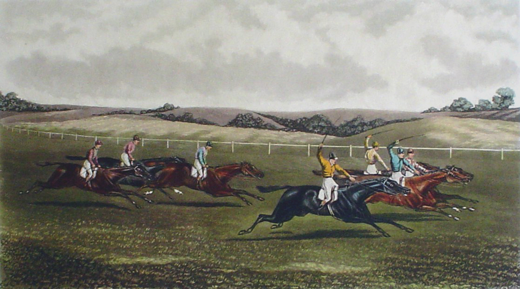 Steeplechase, An Exciting Finish by GC Hunt and Son - restrike etching, hand-coloured
