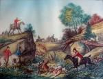 L'Hallali by Carle Vernet - restrike etching, hand-coloured original print