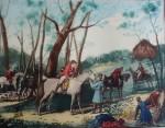 Le Rendez Vous by Carle Vernet - restrike etching, hand-coloured original print