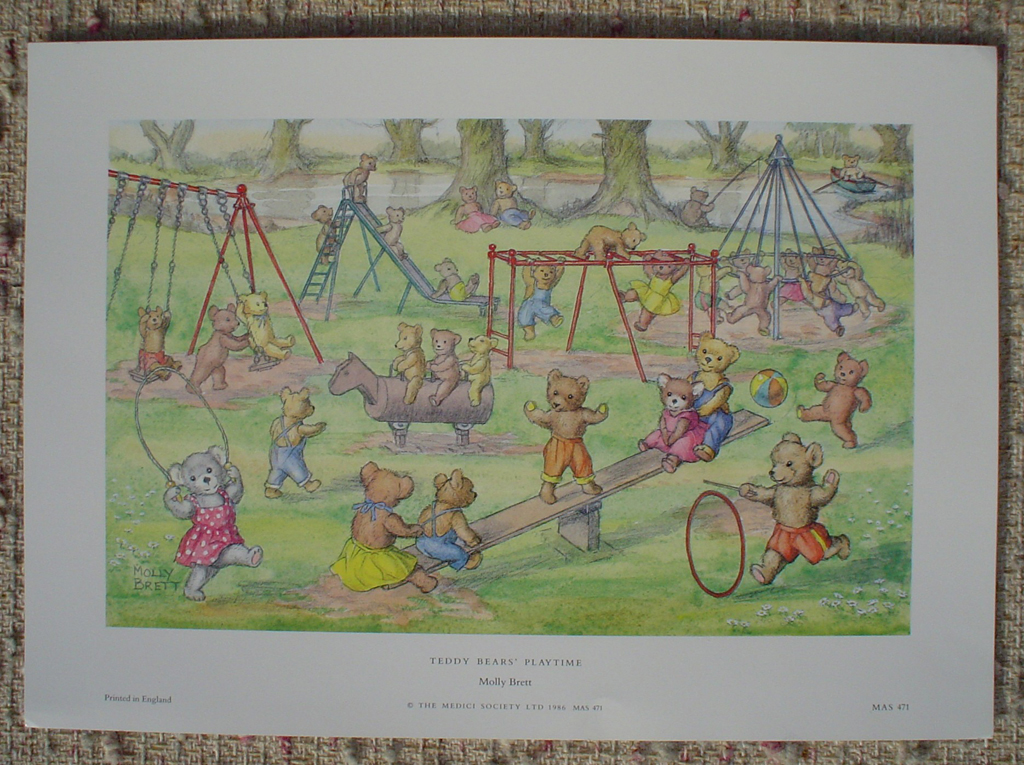 Teddy Bears' Playtime by Molly Brett, shown with full margins - offset lithograph fine art print