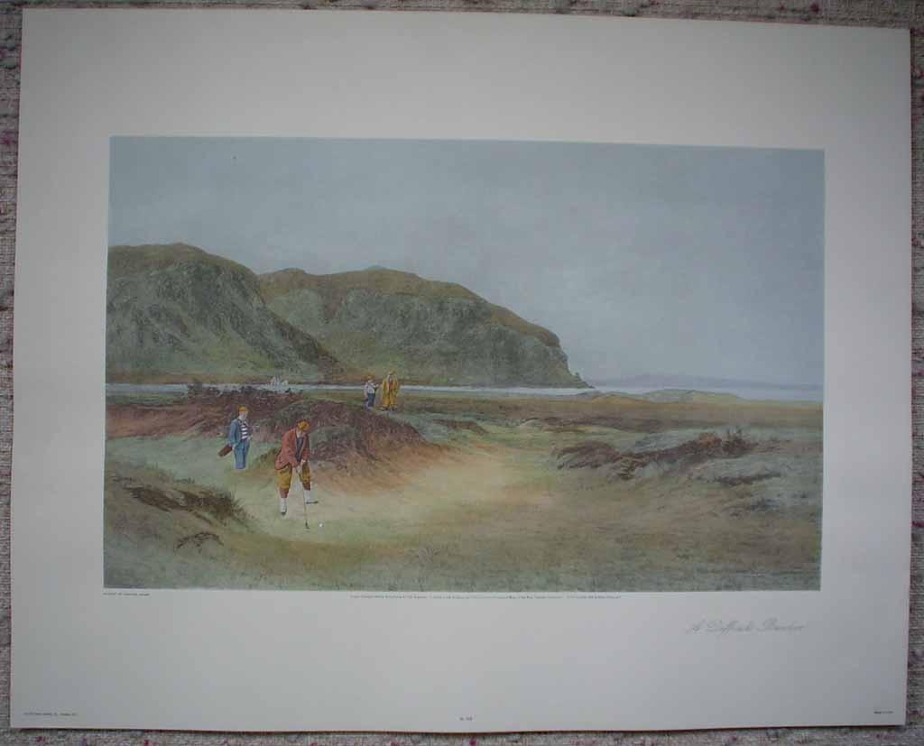 A Difficult Bunker by Douglas Adams, shown with full margins - offset lithograph vintage fine art reproduction