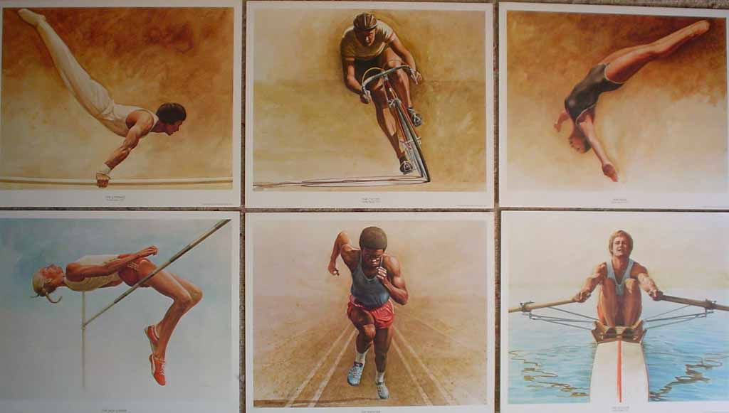 Set of 6 Sports Portraits by Ken Danby: The Gymnast, The Cyclist, The Diver, The High Jumper, The Sprinter, The Sculler - set of six offset lithograph reproduction vintage fine art prints